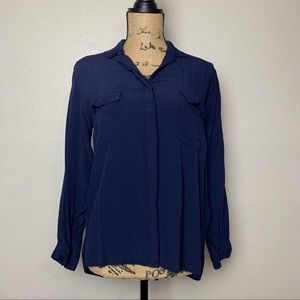 Zara Basic button down viscose blouse